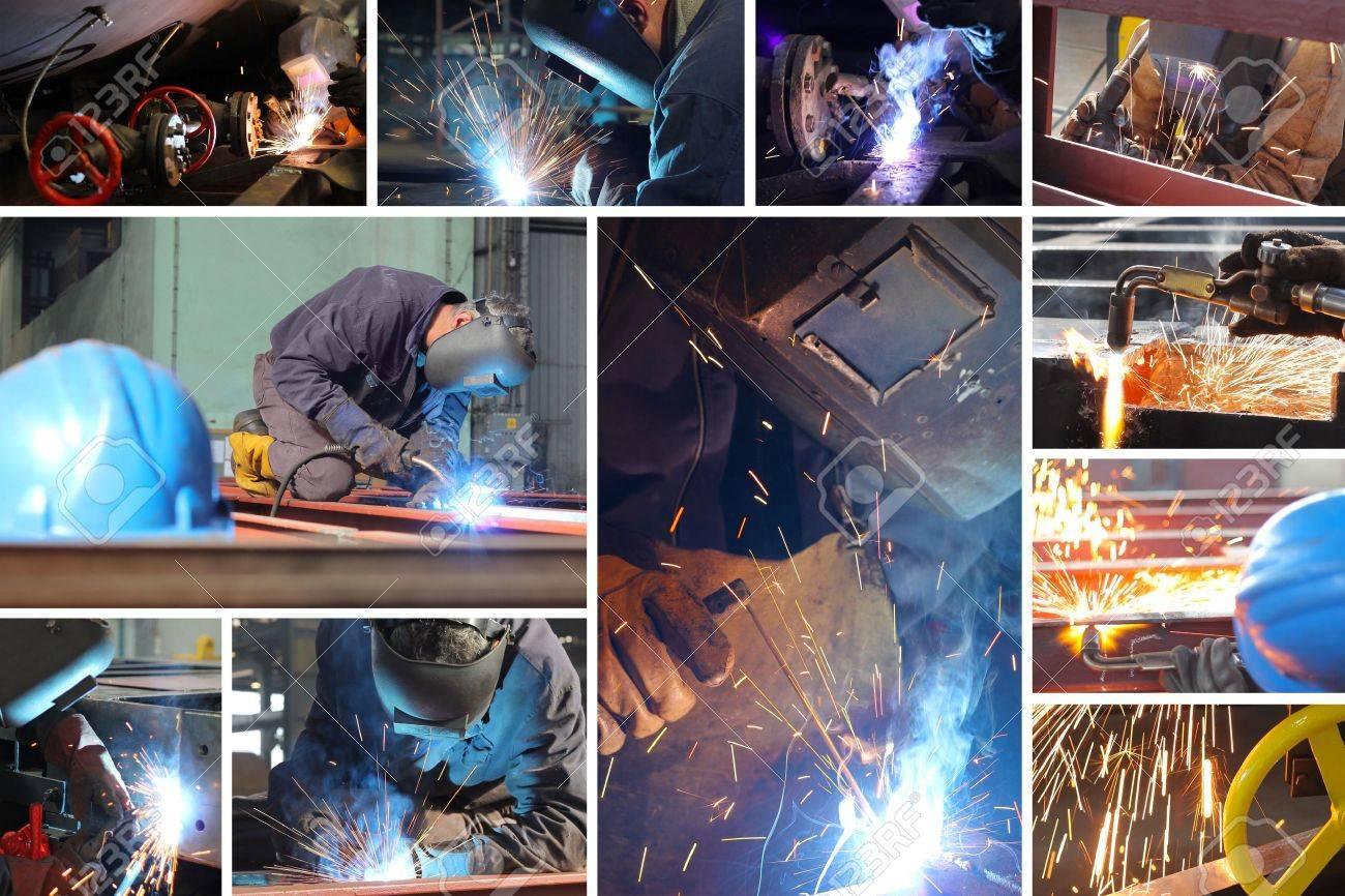 Welder at work in metal industry, split screen Stock Photo - 16156133