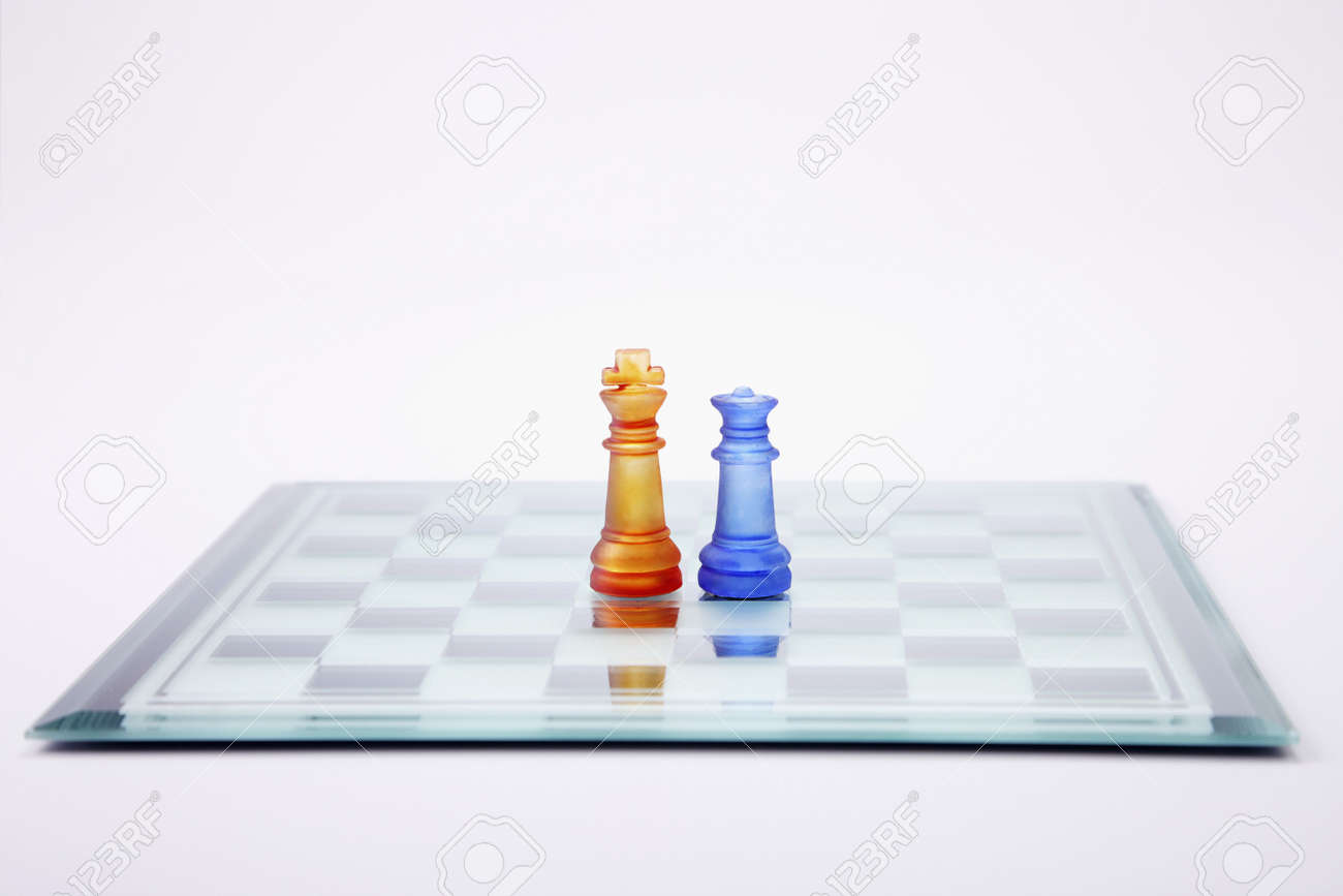 Glass chess set with King and Queen chess pieces Stock Photo - 4635991