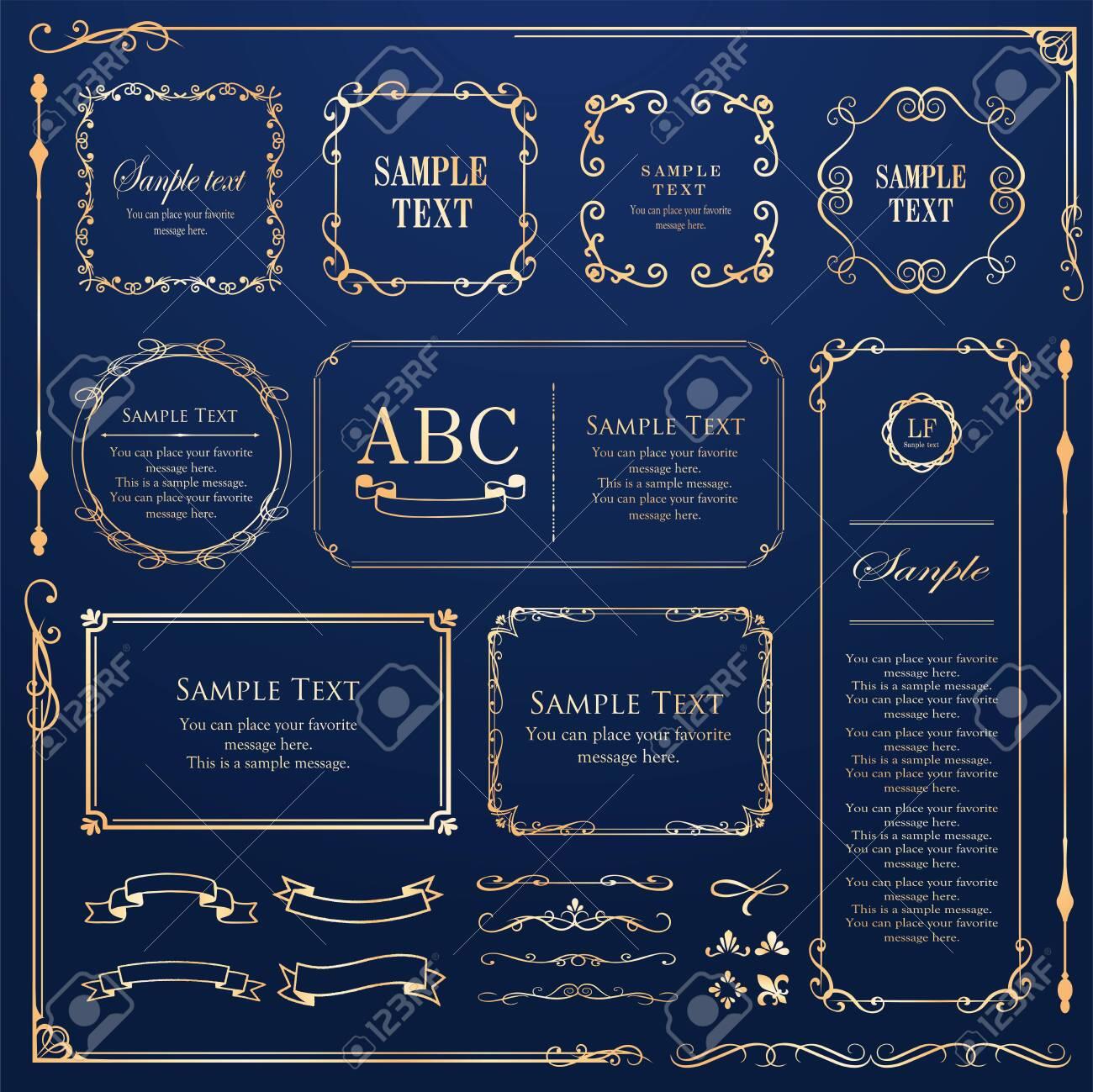 Vector set of vintage elements for design. Ornamental frames, borders, dividers, banners, arrows, monogram, corners, square, template. Pear and flower vignette. Premium gold style - 130850327