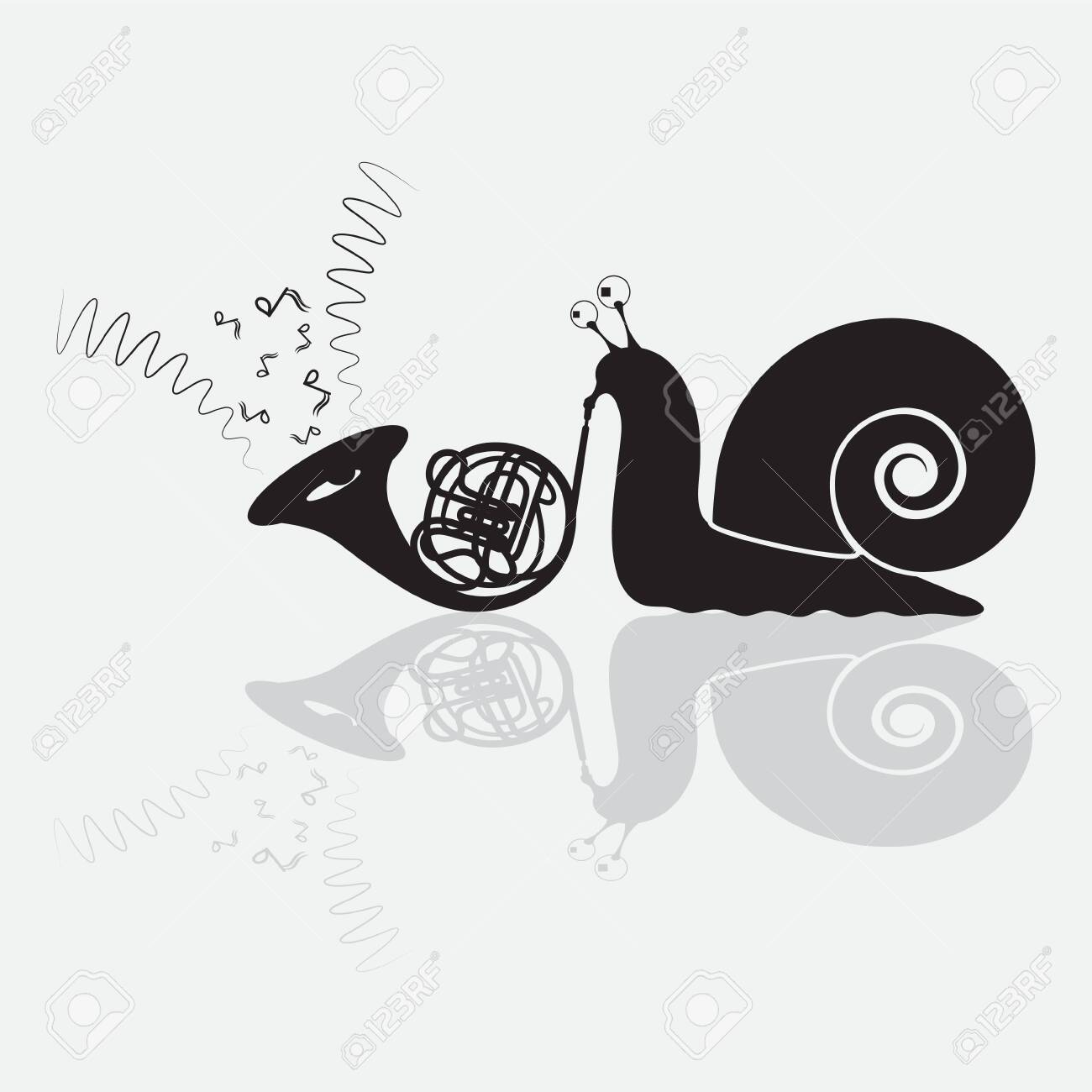 Snail plays the trumpet humor black silhouette, badge. - 126396438