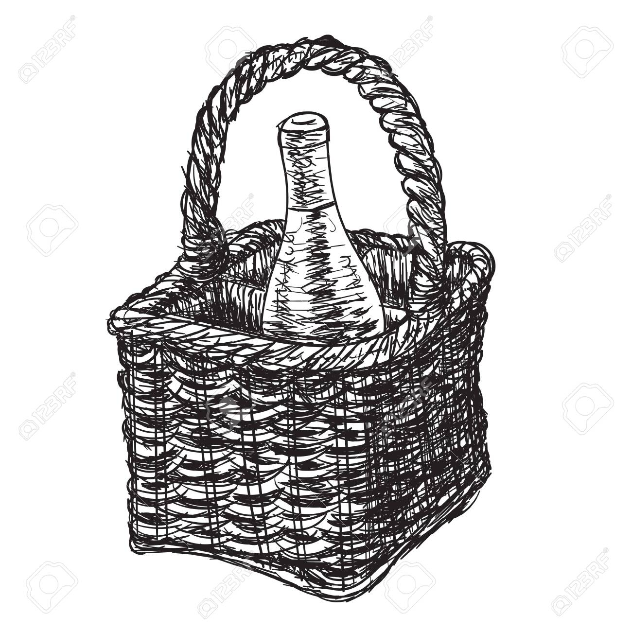 Vintage Wicker Picnic Hamper Bottle Of Wine On An Isolated White Royalty Free Cliparts Vectors And Stock Illustration Image 129196053