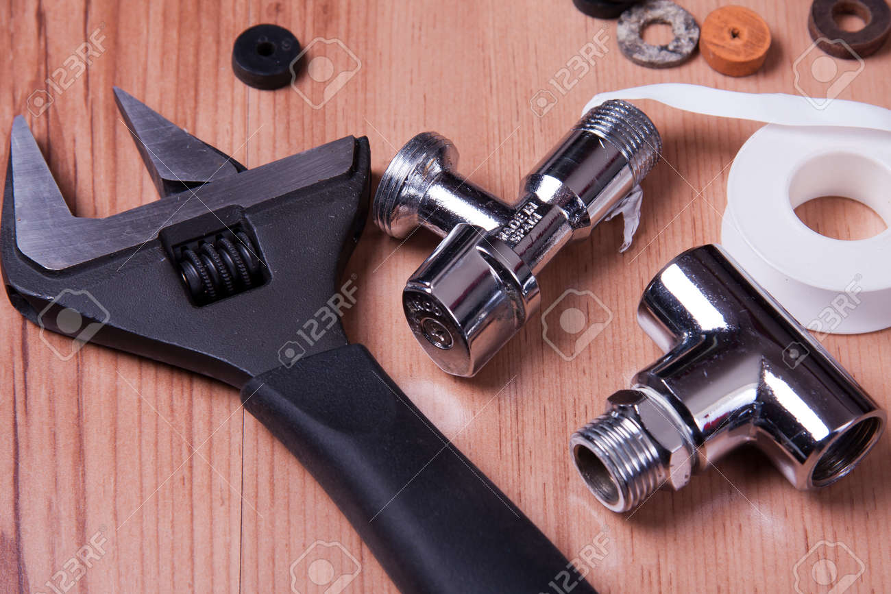 Professional Plumbing Tools And Seals Placed In The Workplace. Stock ...