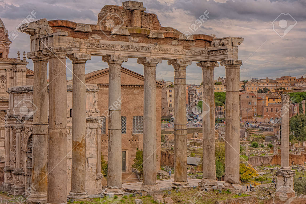 Rome, Italy - November 10, 2014:The Temple of Saturn is a temple