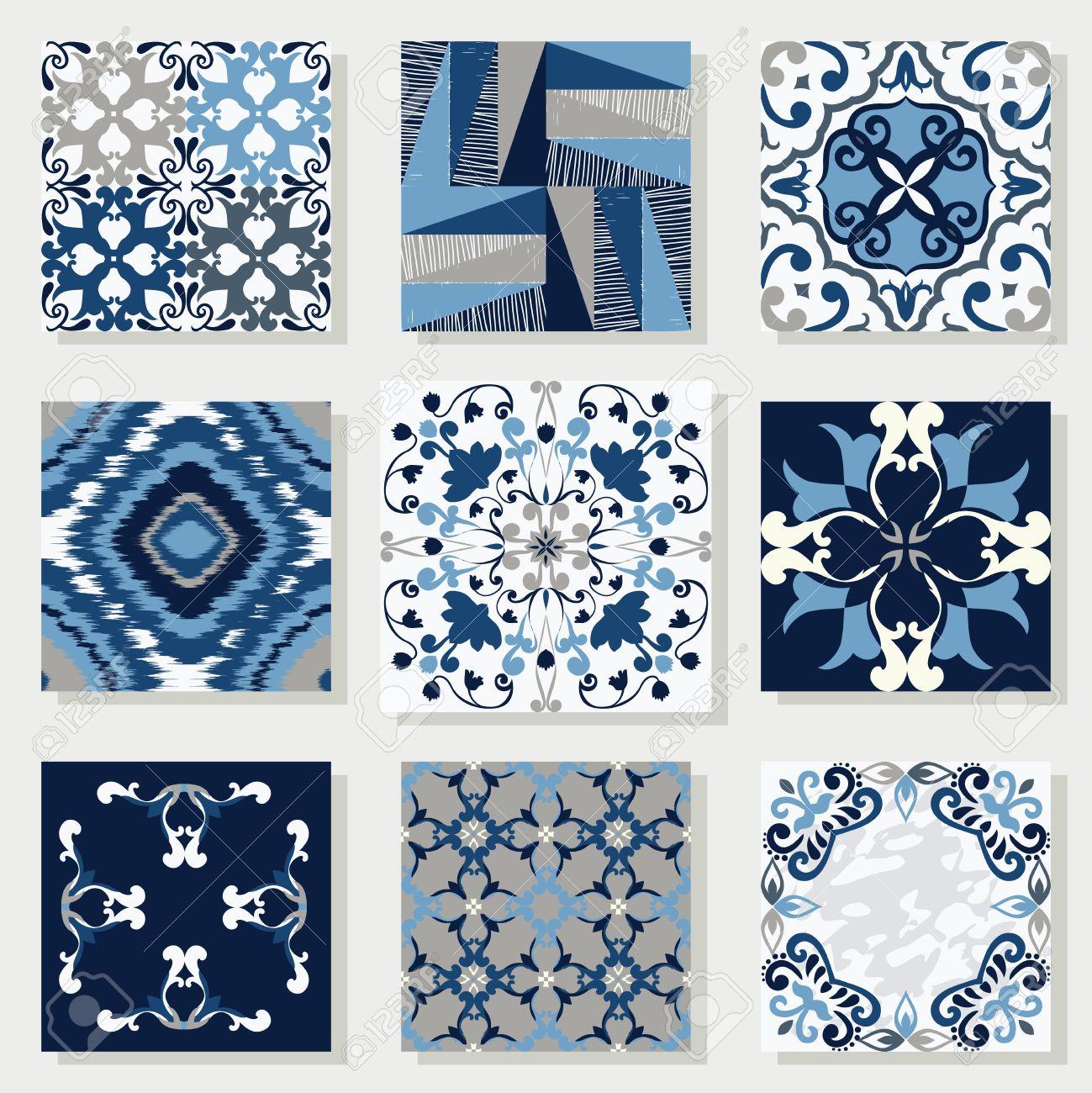 Keramikfliesen  Sammlung Von 9 Keramikfliesen, In Blau-weiß-Stil Lizenzfrei ...
