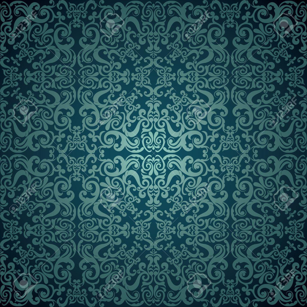 Damask Wallpaper Blue Design Stock Vector