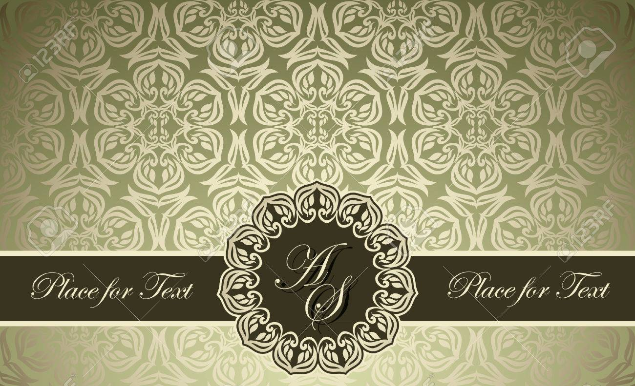 Vintage frame on damask wallpaper can be used as business visiting vector vintage frame on damask wallpaper can be used as business visiting invitation card cover etc stopboris Image collections