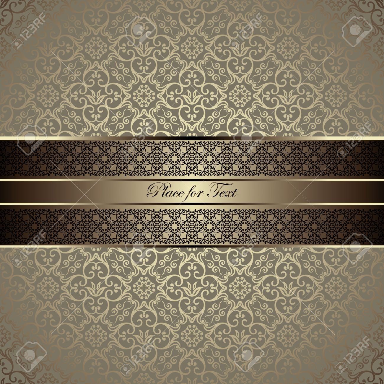 Vintage card with a border on seamless damask wallpaper - 30995381