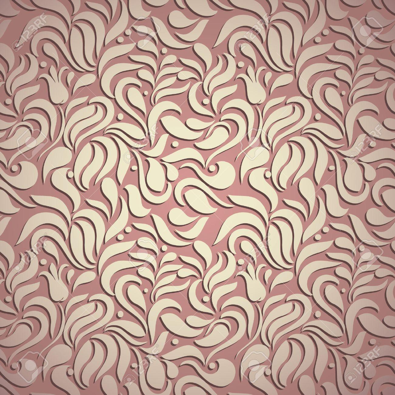 Tourbillons Floral élégants Et Modernes De Luxe Papier Peint Rose