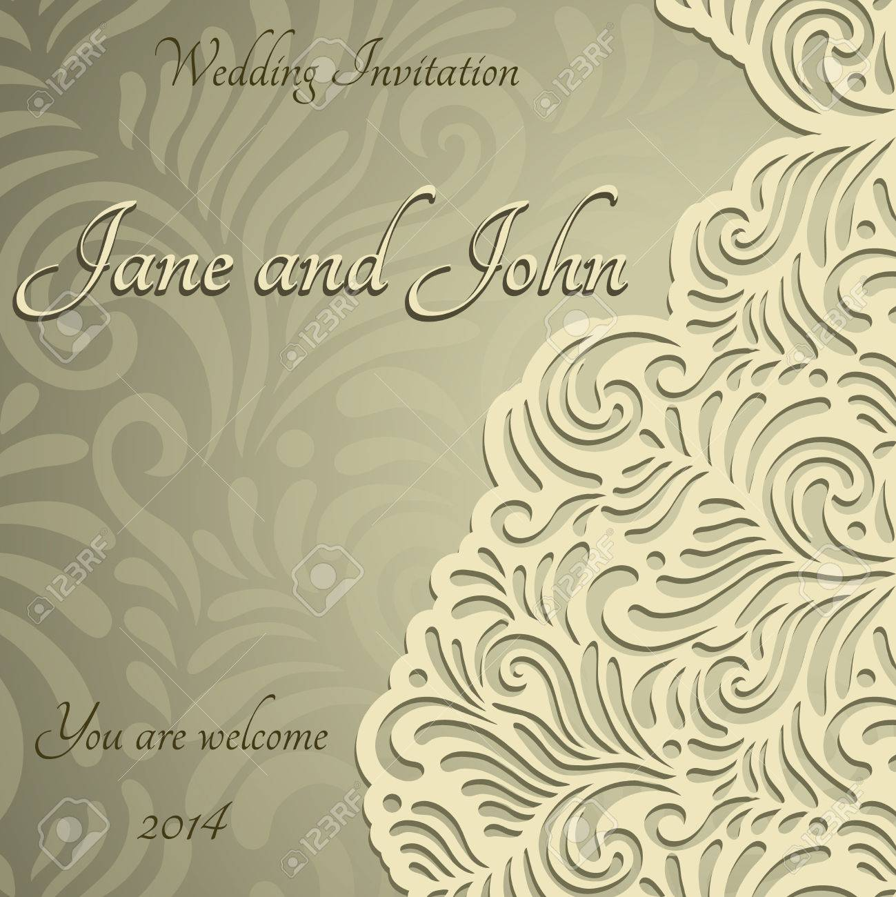 Elegant Stylish Wedding Invitation, Floral-lace Design Royalty Free ...