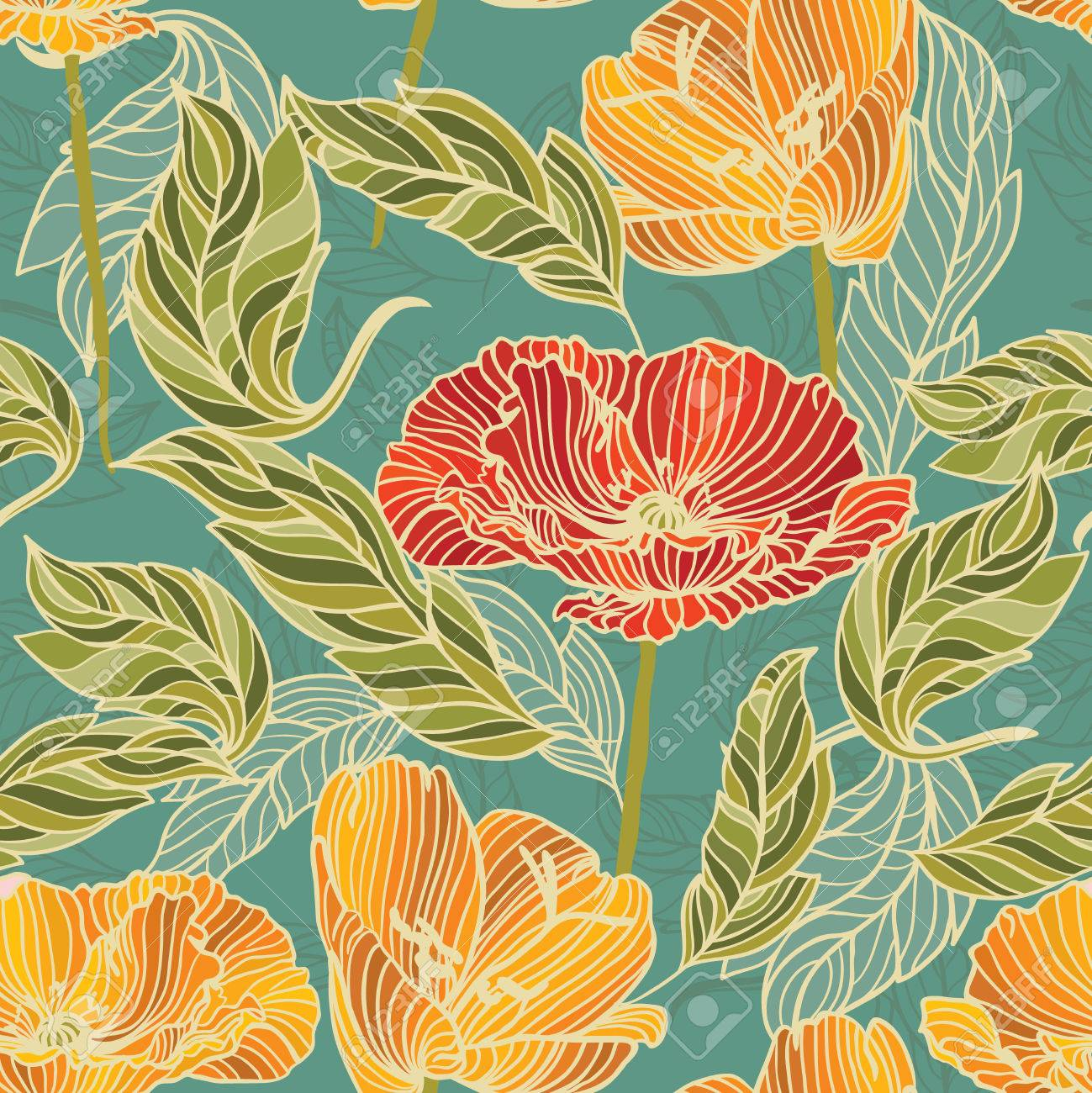 35585690 floral wallpaper with hand drawn flowers retro colored