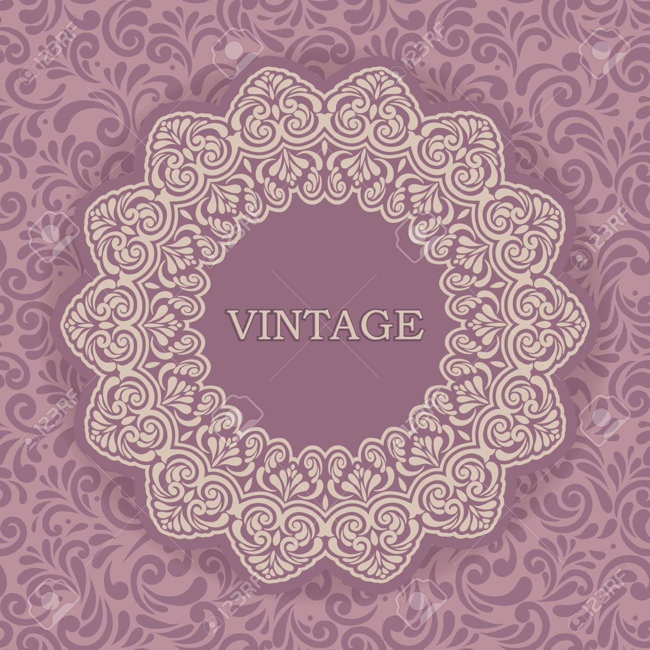 Vintage Frame On Seamless Wallpaper Design Pastel Pink Colored