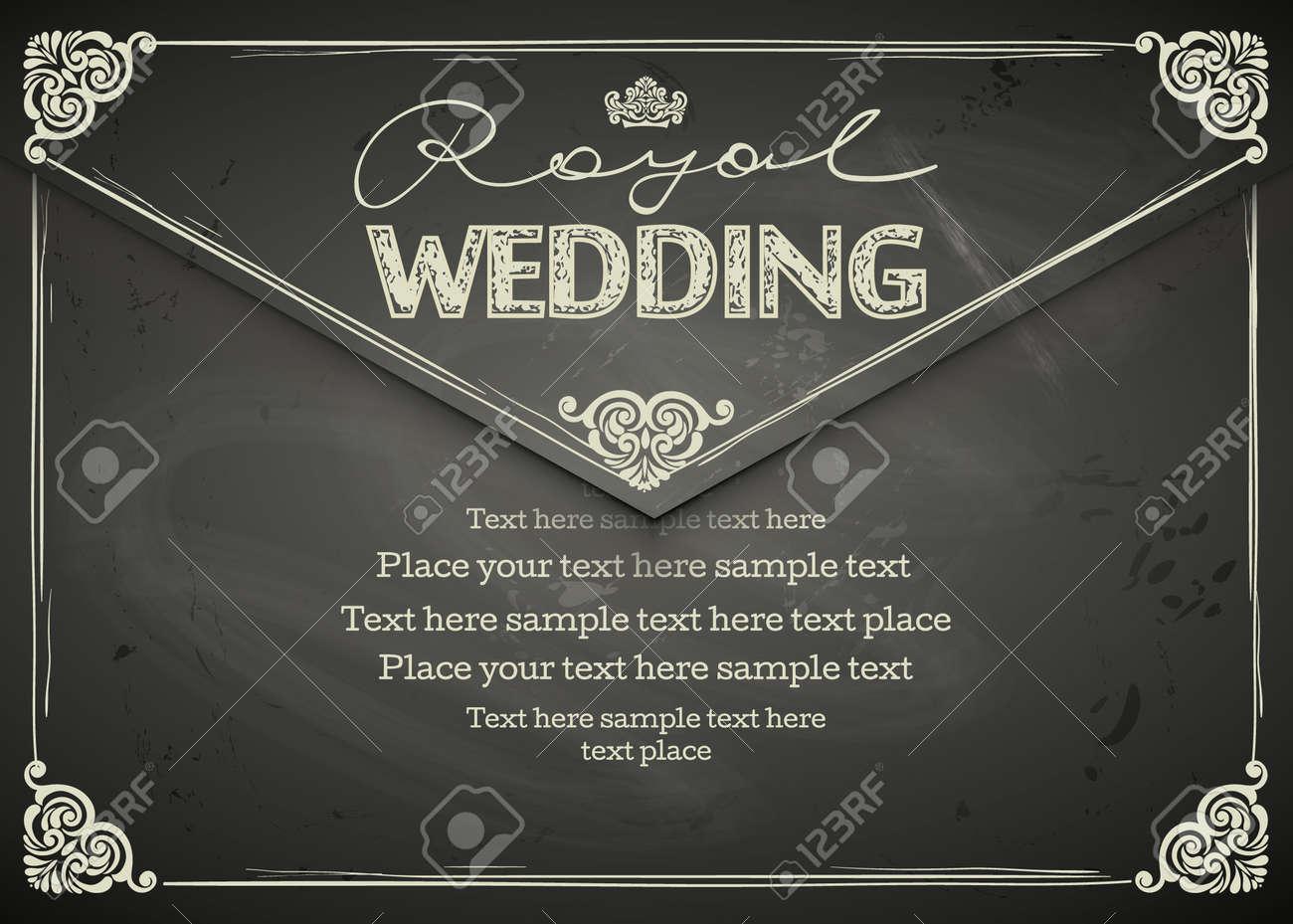 Vector   Vintage Wedding Frames And Border. Easy To Use. Chalkboard Design