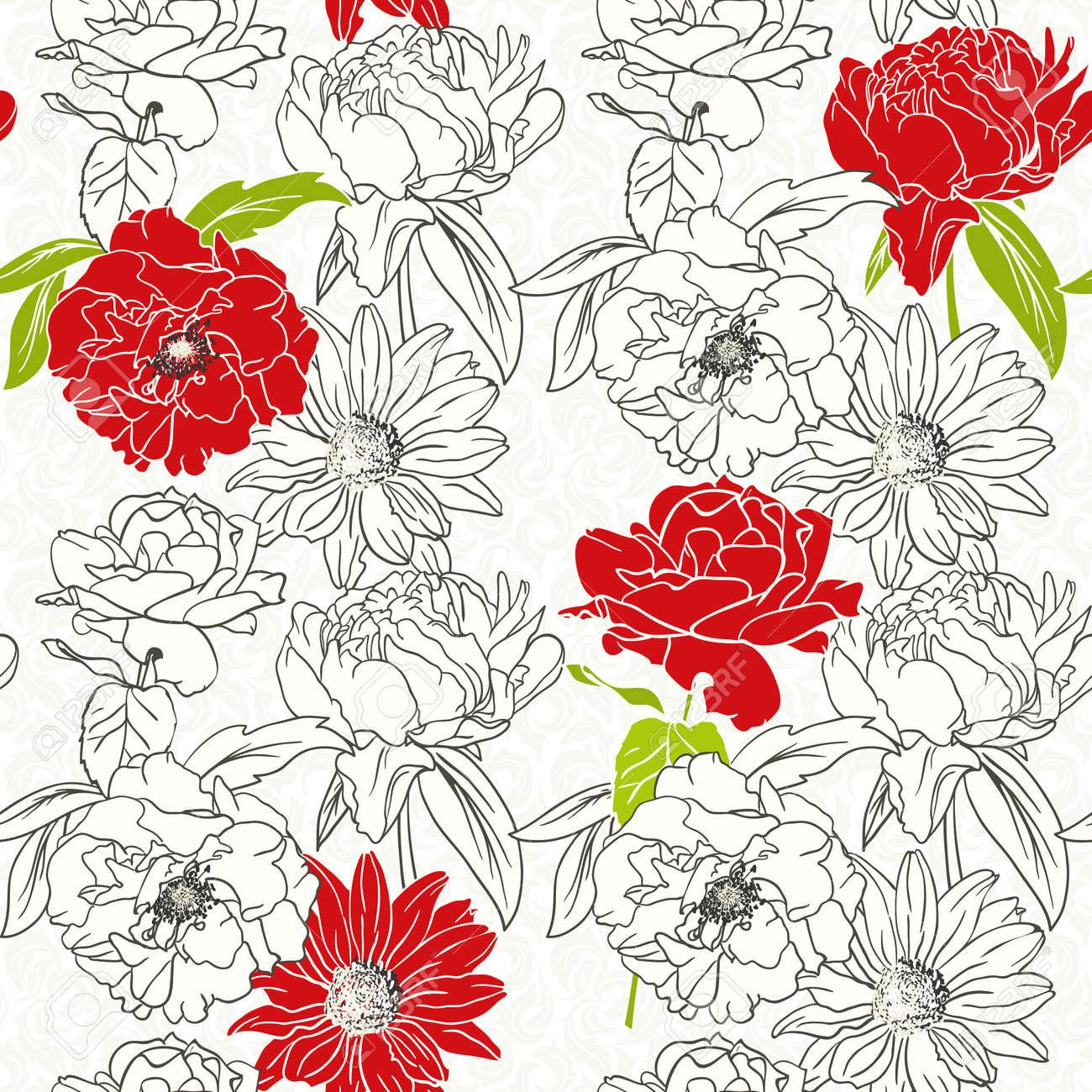 Modelo Inconsutil Floral Con Flores Rojas En Fondo Blanco Y Negro
