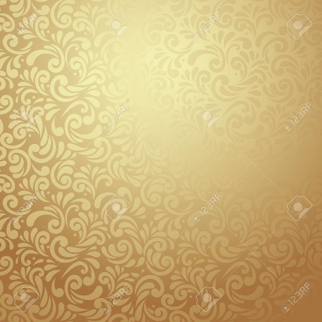 Elegant Stylish Abstract Floral Wallpaper Seamless Pattern In Gold Stock Vector