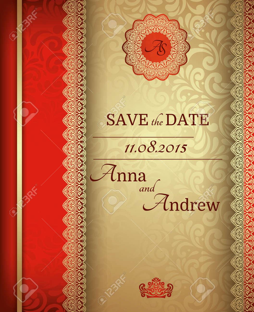 Invitation Card Baroque Golden And Red Vintage Frame Border