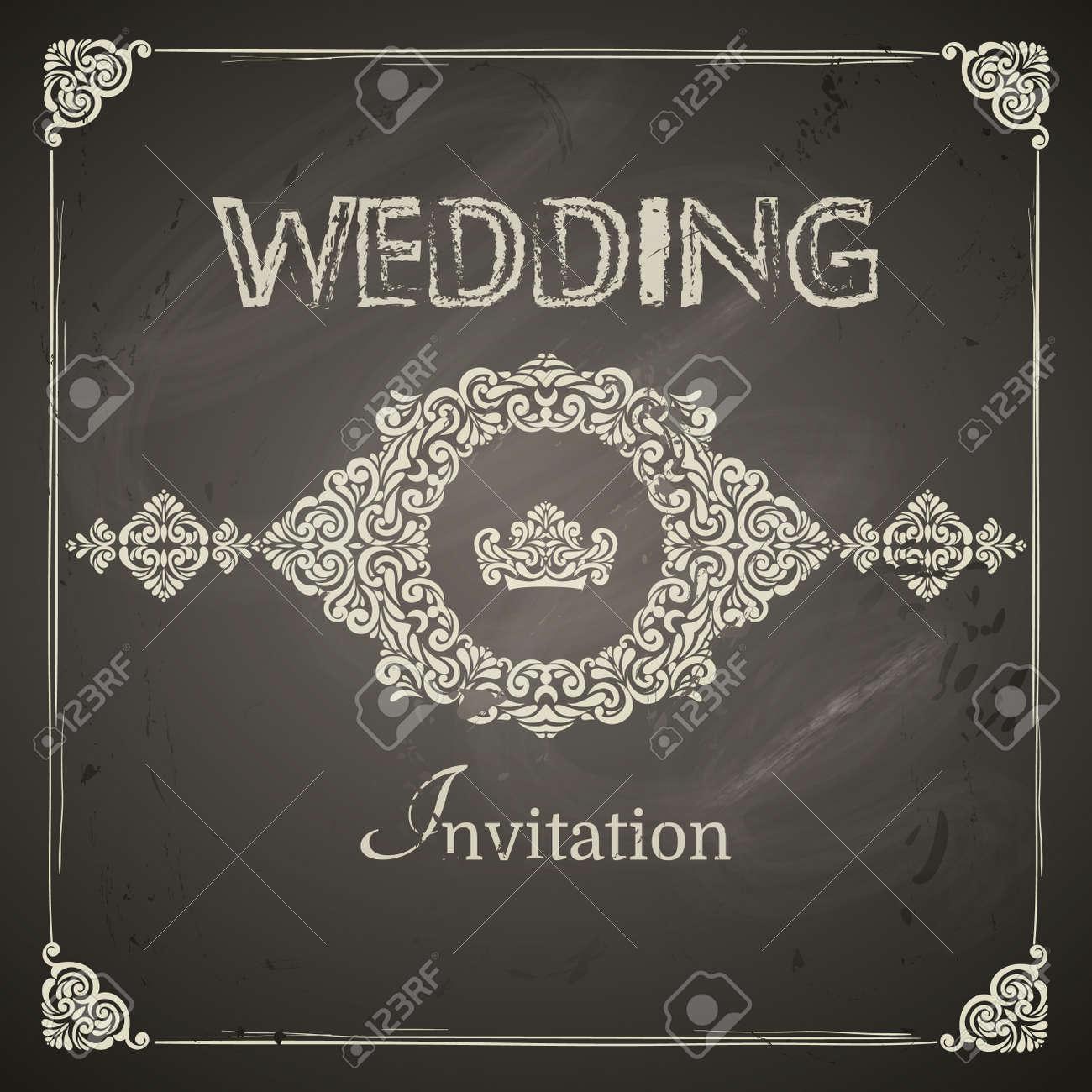 Vector   Vintage Wedding Frames, Border And Design Elements. Easy To Use. Chalkboard  Design