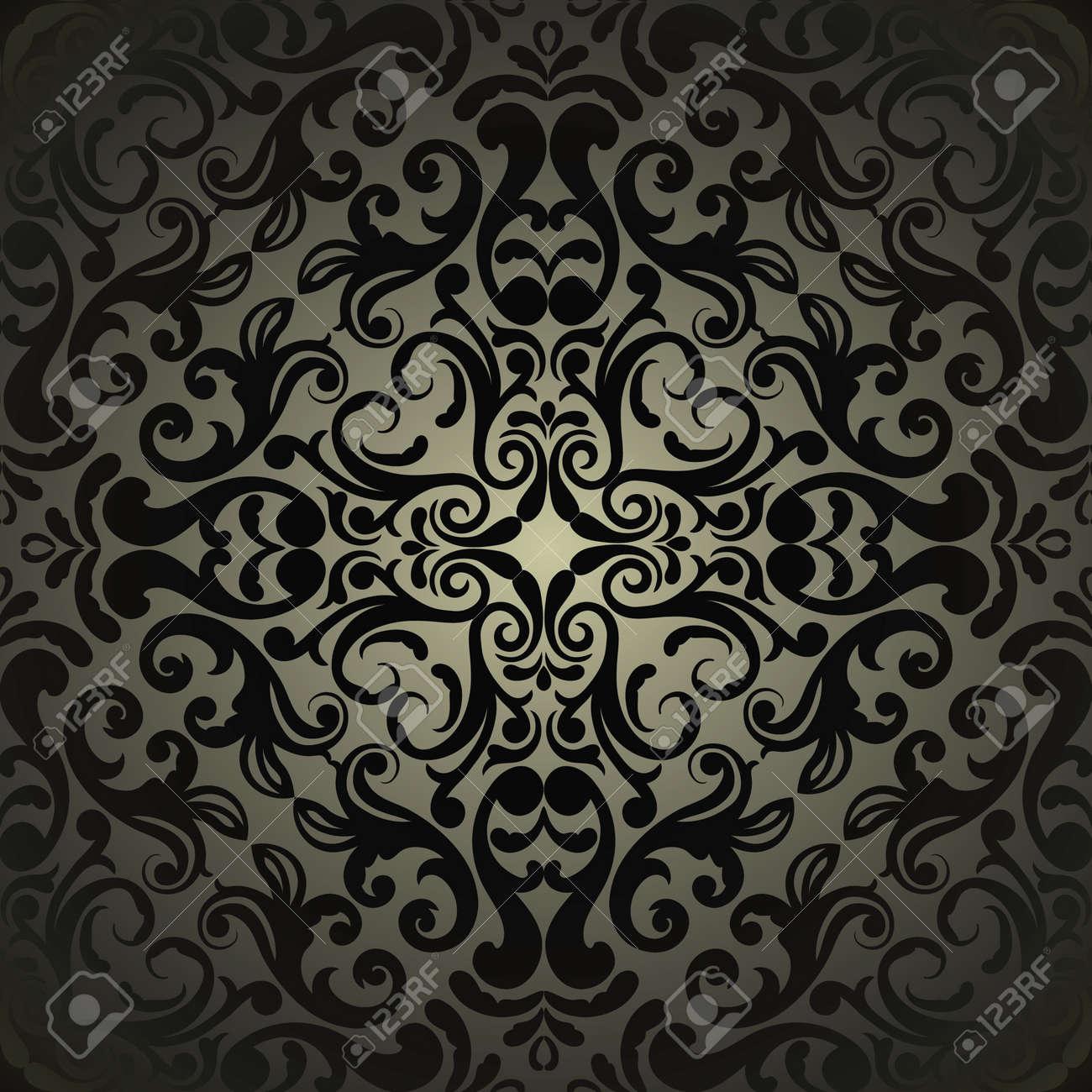 ダマスク織壁紙 ブラック デザインのイラスト素材 ベクタ Image