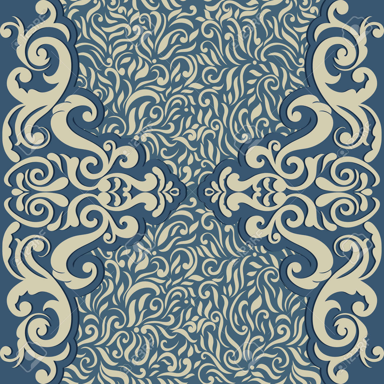 Vintage Card With Seamless Abstract Floral Wallpaper Can Be