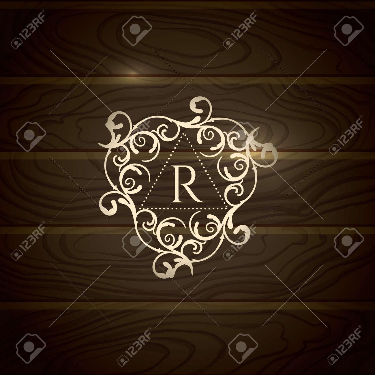 Logotipo De La Plantilla Real Florece Caligráfico Elegantes Líneas ...