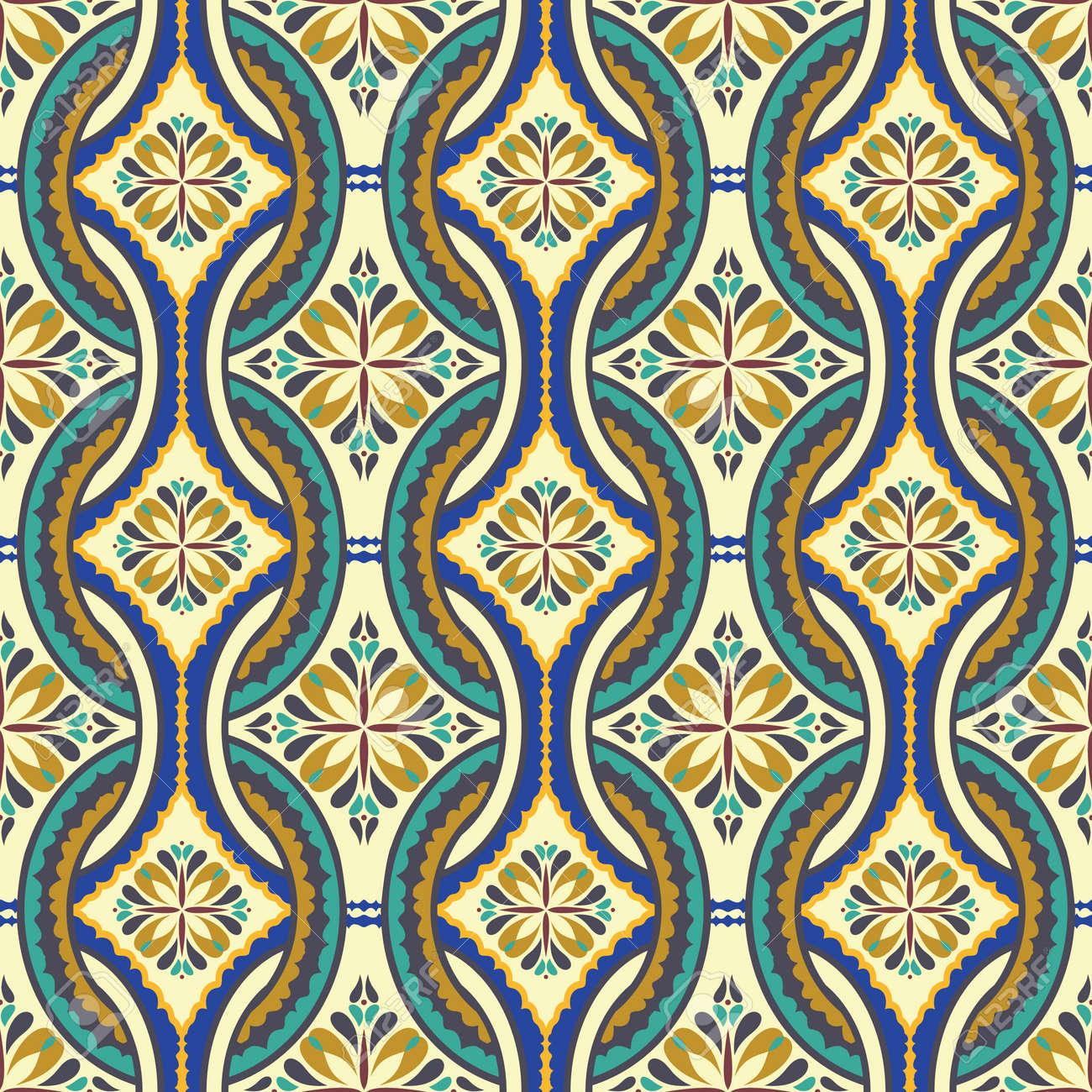 Seamless De Carrelage Marocain Style Rétro Vert-bleu-orange-beige ...