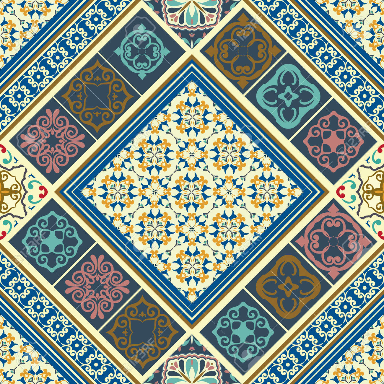 Tiles seamless pattern with retro colored ceramic tiles royalty tiles seamless pattern with retro colored ceramic tiles stock vector 47912597 dailygadgetfo Images