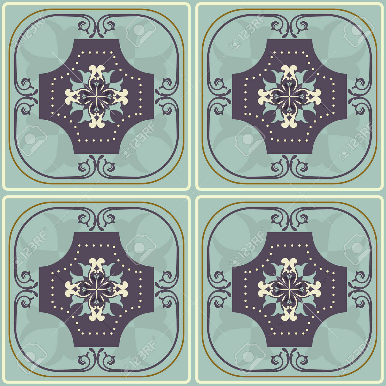 Tile pattern with retro blue colored ceramic tiles royalty free tile pattern with retro blue colored ceramic tiles stock vector 48770748 dailygadgetfo Images