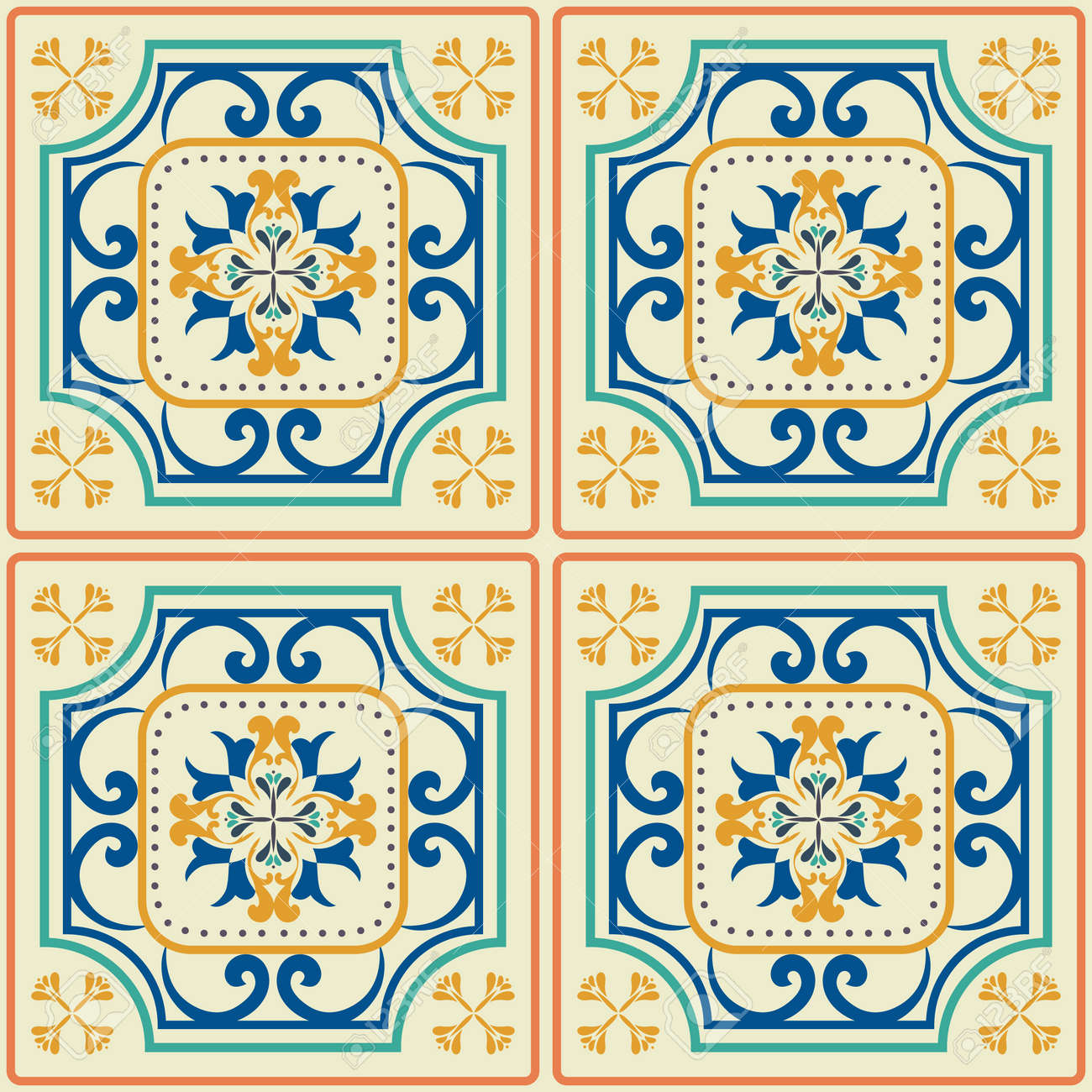 Tile Pattern With Classic Orange-blue Colored Ceramic Tiles. Royalty ...