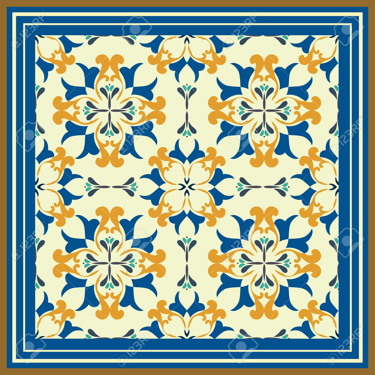 Tile pattern with classic orange blue colored ceramic tiles royalty tile pattern with classic orange blue colored ceramic tiles stock vector 48771007 dailygadgetfo Images