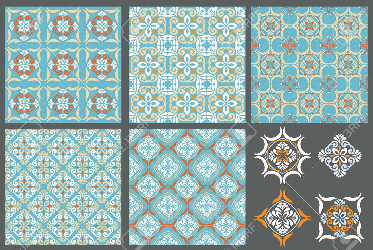 Set Of 5 Patterns, And Tile Design Elements Royalty Free Cliparts ...