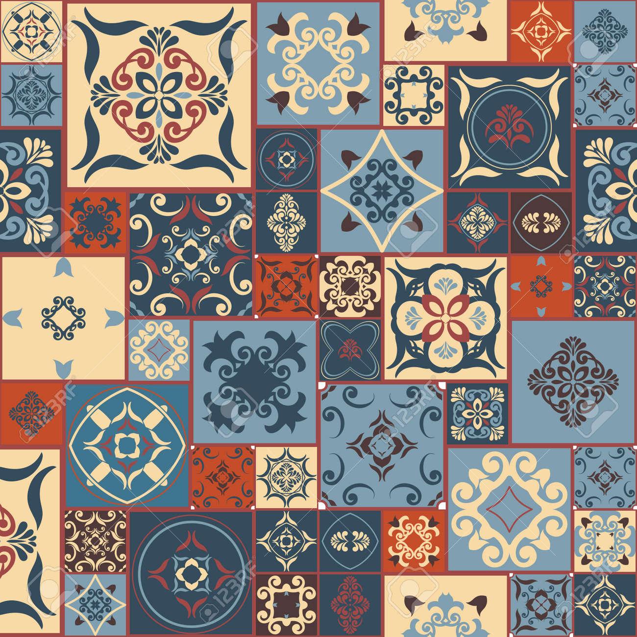 Fliesenmuster Von RETRO Blau-orange-rot-beige Stil Marokkanischen ...