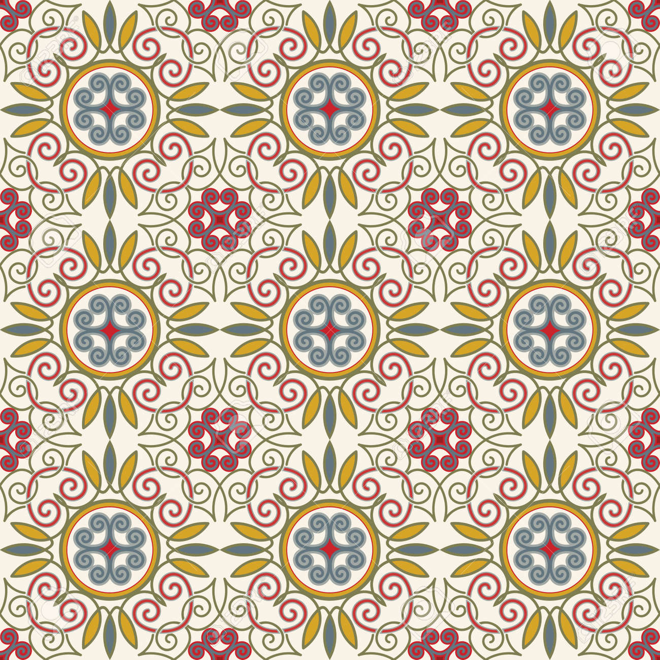 50672659 tile pattern from retro blue orange red beige style can be used for wallpaper surface textures cover