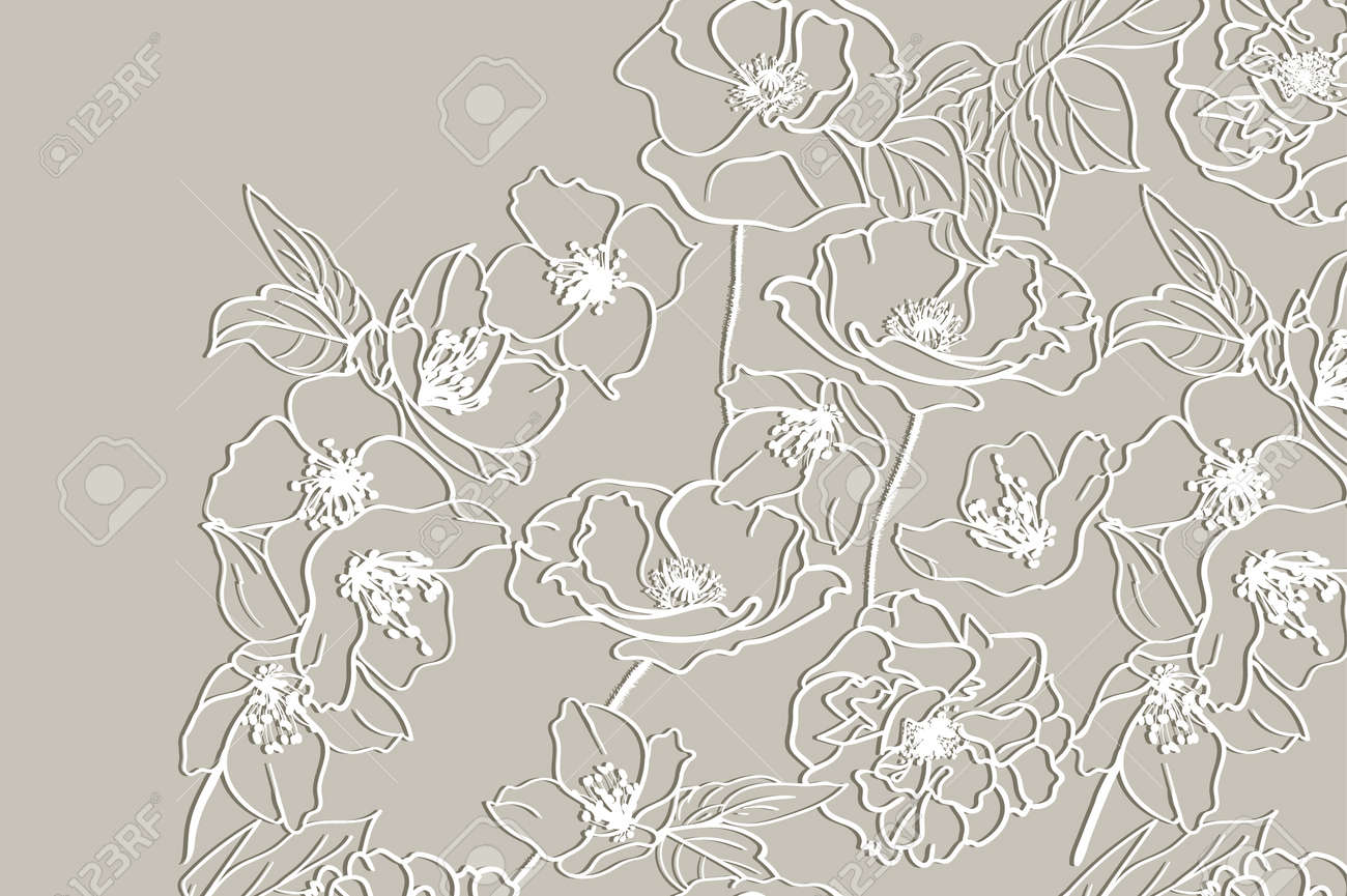Card with a white floral lace on beige background floral background card with a white floral lace on beige background floral background vector wedding invitation stopboris Gallery