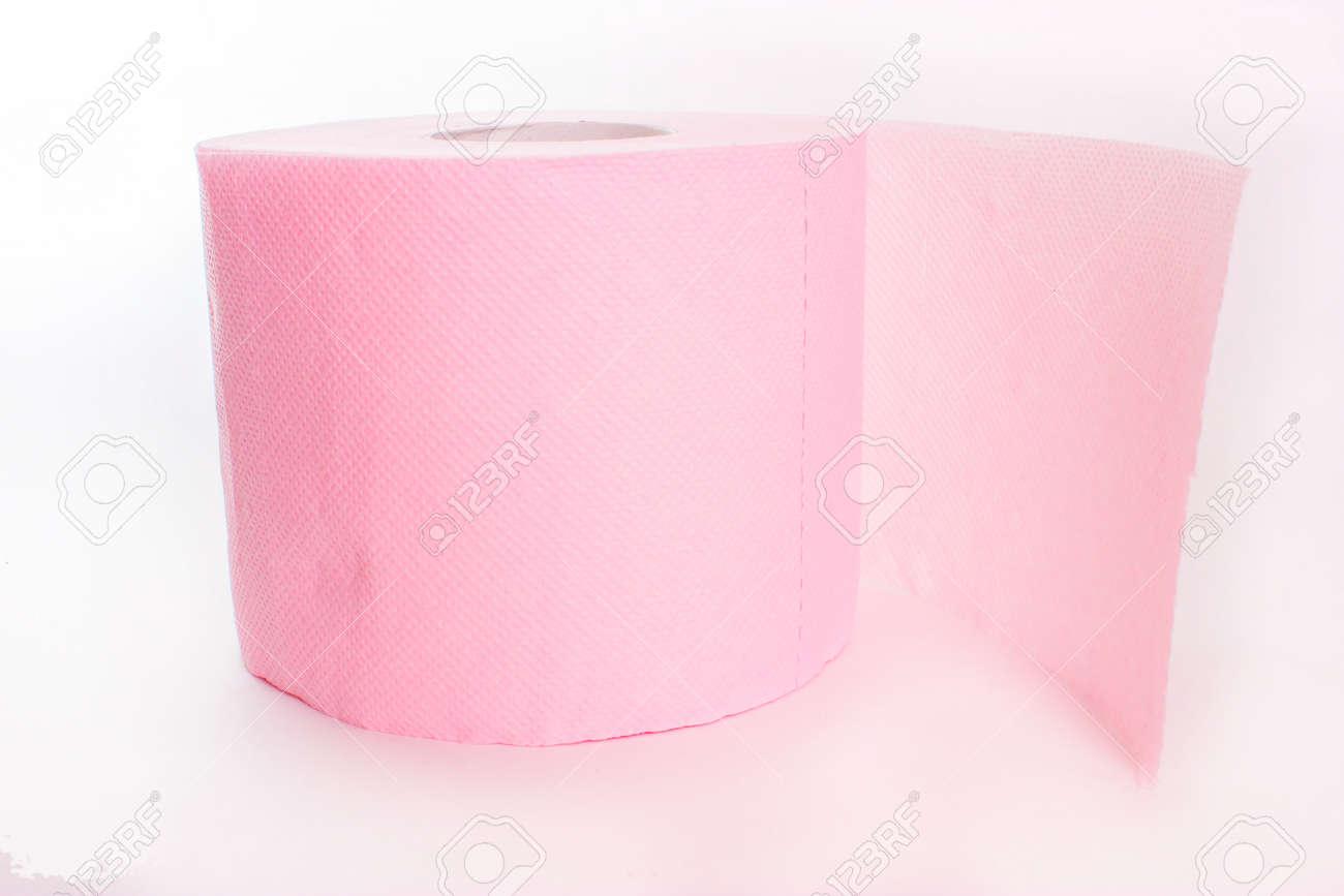 Isolé Papier Toilette Rose Sur Fond Blanc Banque Dimages Et Photos