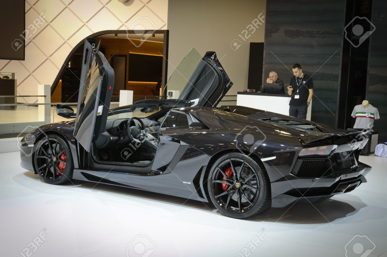Beylikduzu Istanbul Turkey May 28 2015 Black Lamborghini