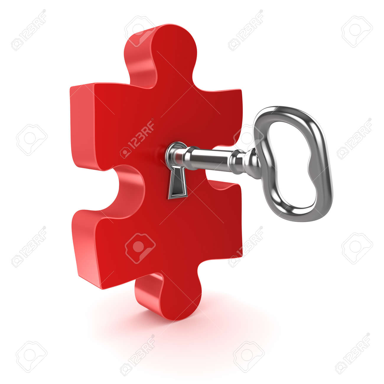 Old Key With Jigsaw Puzzle Piece This Is A 3d Computer Generated Image Isolated