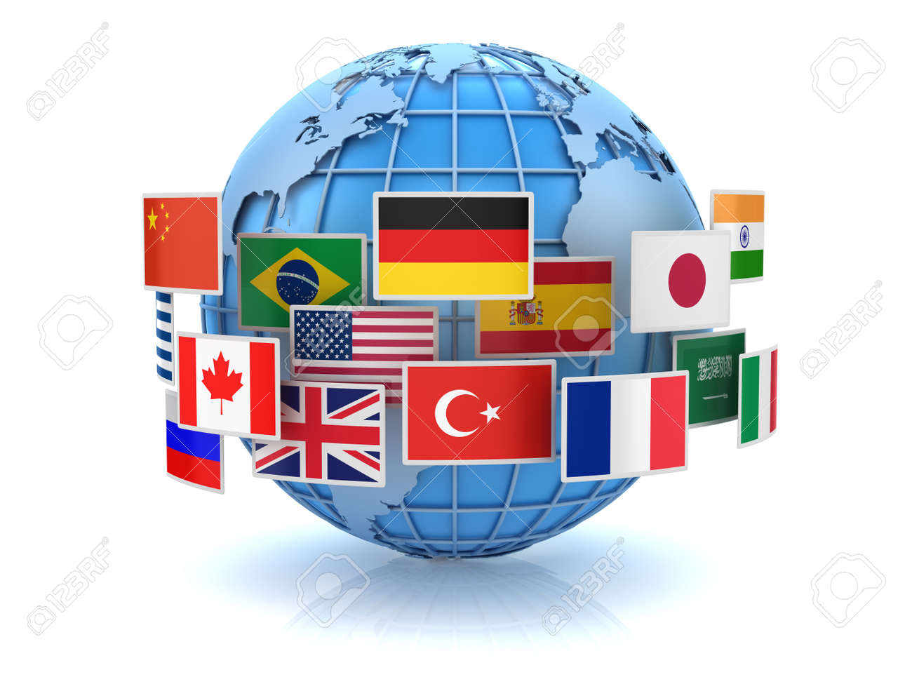 World map and country flags this is a 3d computer generated stock photo world map and country flags this is a 3d computer generated image isolated on white gumiabroncs Choice Image