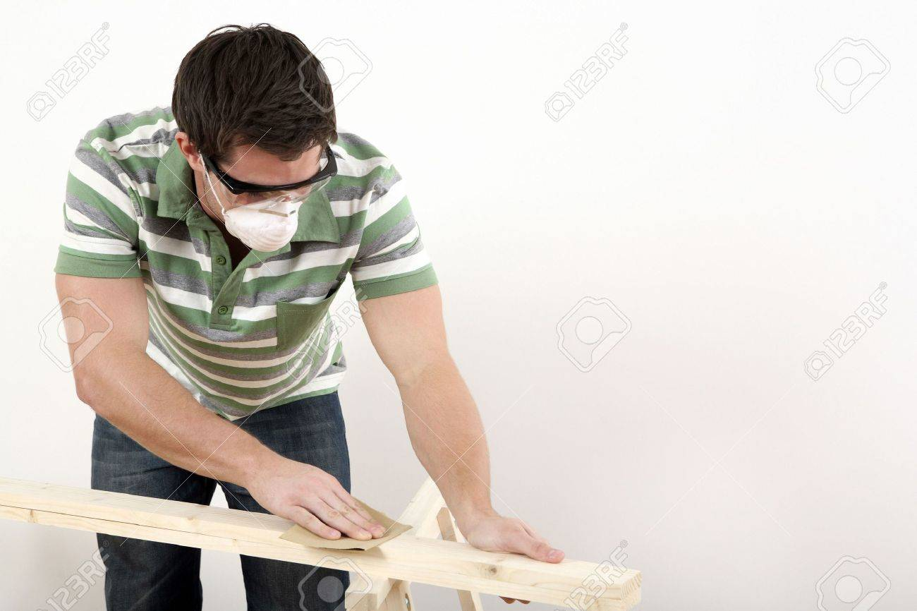 Man sanding wood Stock Photo - 2966335