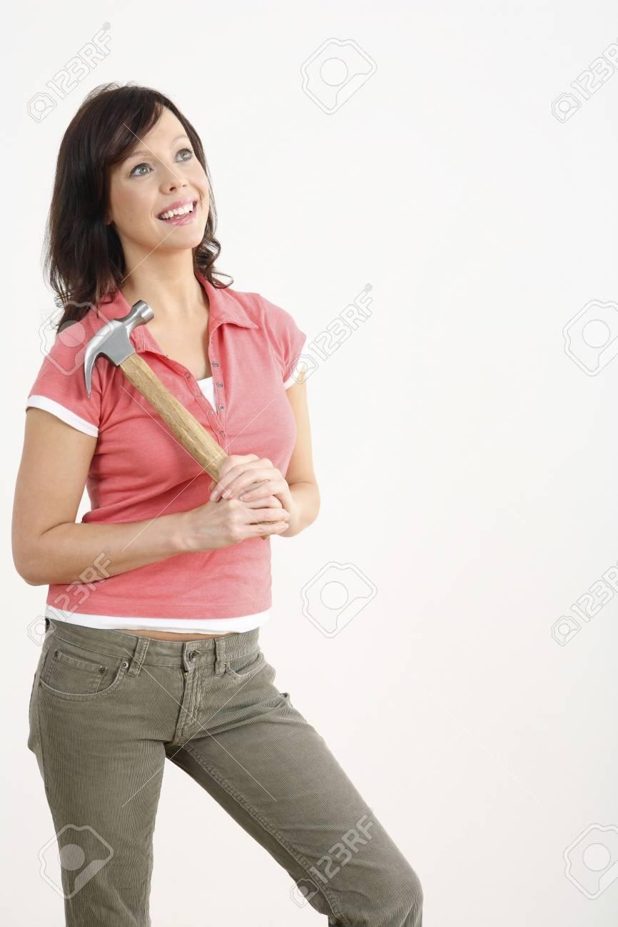 Woman holding hammer Stock Photo - 2966367