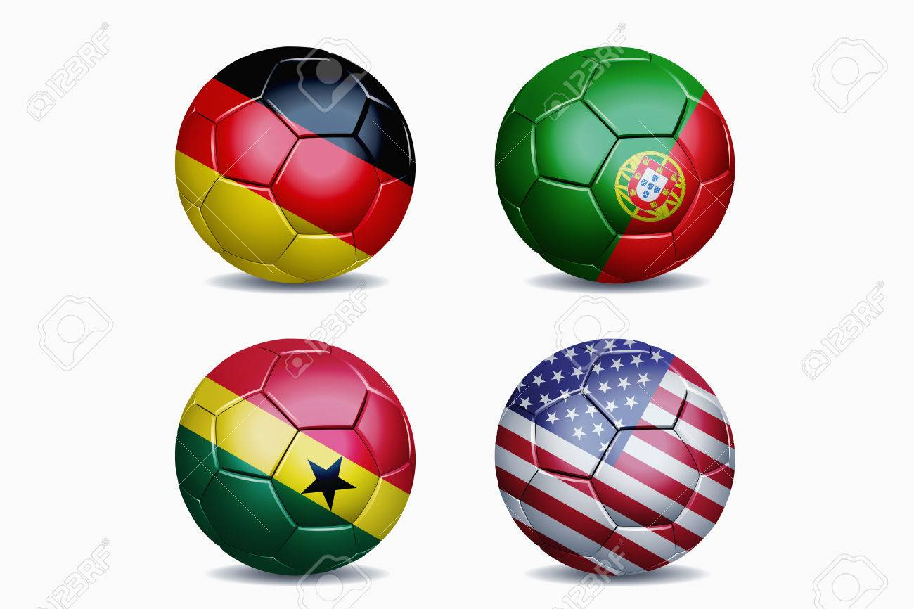 dc2ab0d71 Football National Team Flags On Soccer Balls Stock Photo, Picture ...