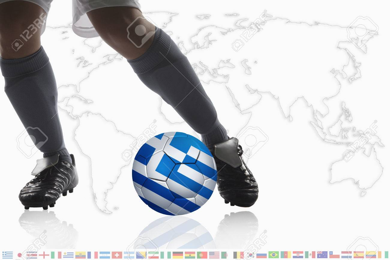 Soccer player dribble a soccer ball with Greece flag Stock Photo - 27044814 f8552438bf