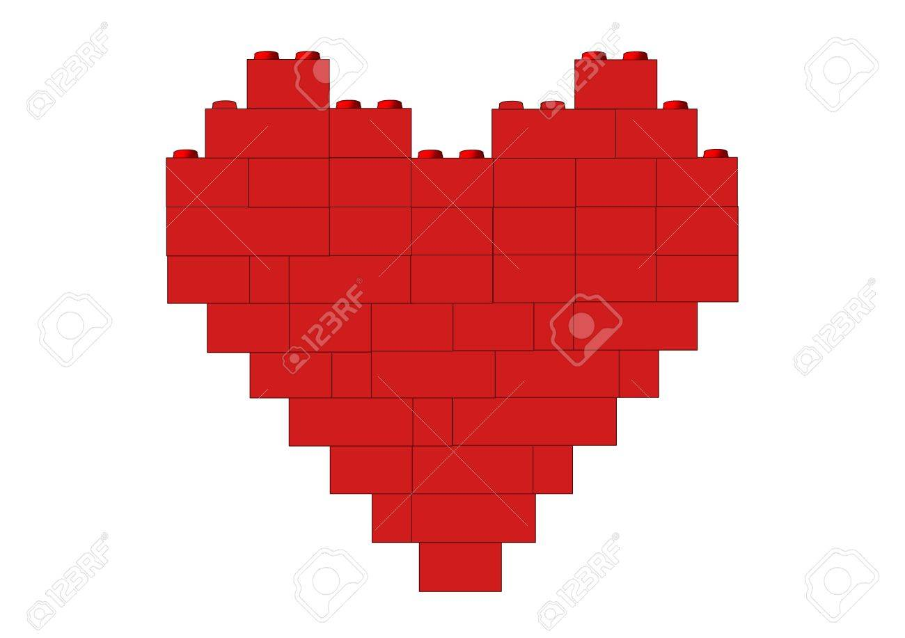 Red heart made of blocks, object isolated, blocks series, illustration, painting, drawing Stock Illustration - 695710