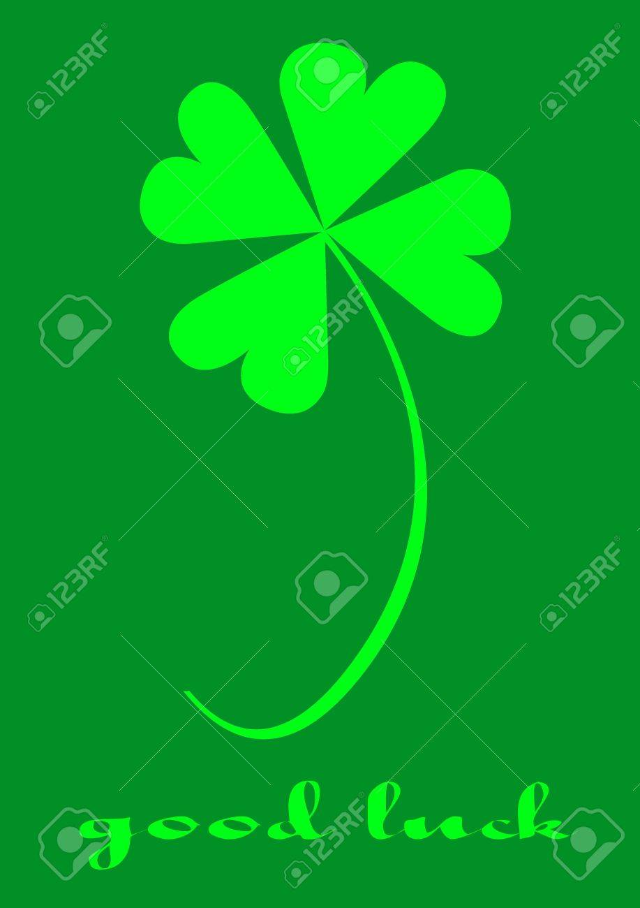 Four leaf clover, version with text, clover series, illustration Stock Photo - 772116