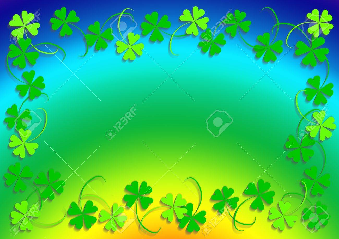 Green four leaf clover and the rainbow, frame, background, clover series, illustration Stock Illustration - 788222