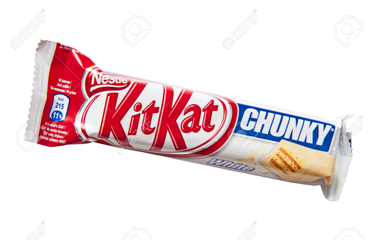 Kit kat chunky white candy bar with white chocolate produced by kit kat chunky white candy bar with white chocolate produced by nestle isolated on a white voltagebd Gallery