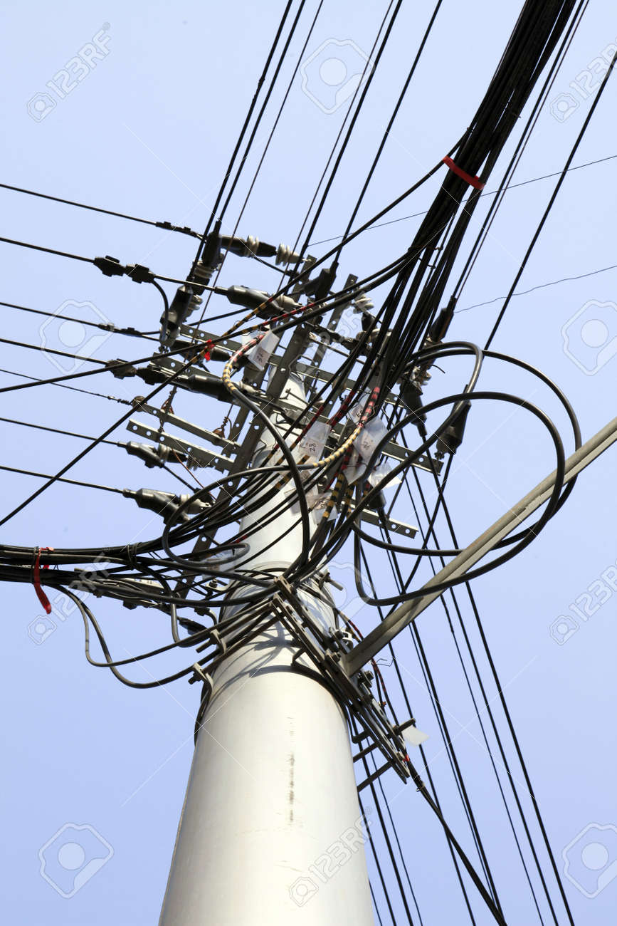 A Telegraph Pole With A Spread Of Wires - Landscape Format. Stock ...