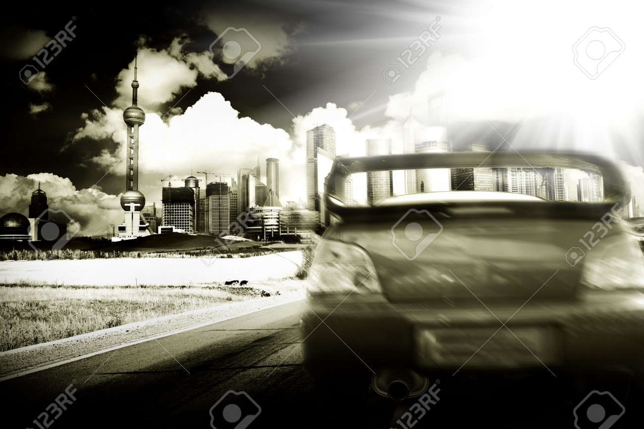 the abstract background of the road and city . Stock Photo - 5927804