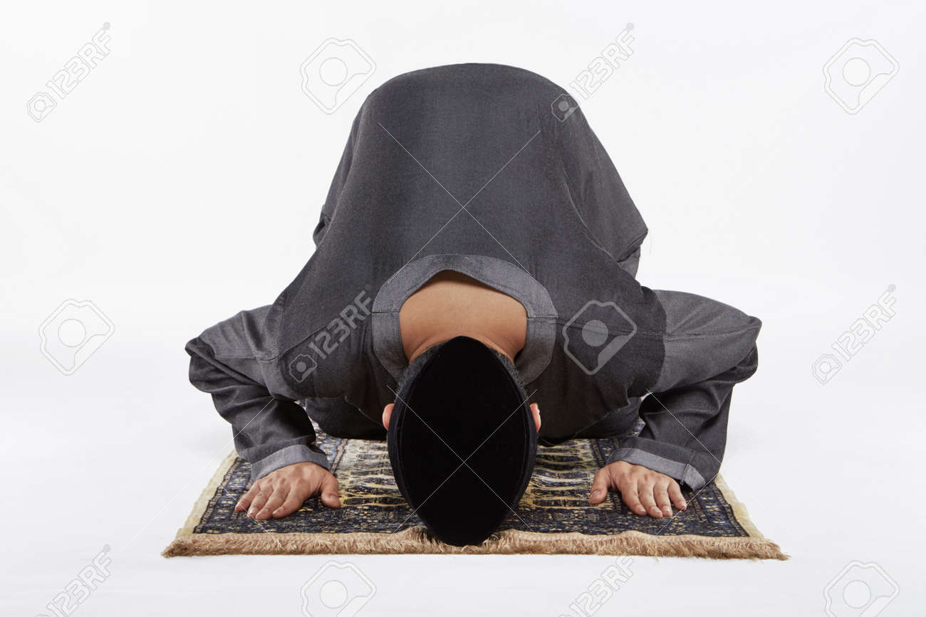 Main Kneeling And Staying Prostrate By Pressing Forehead, And ...