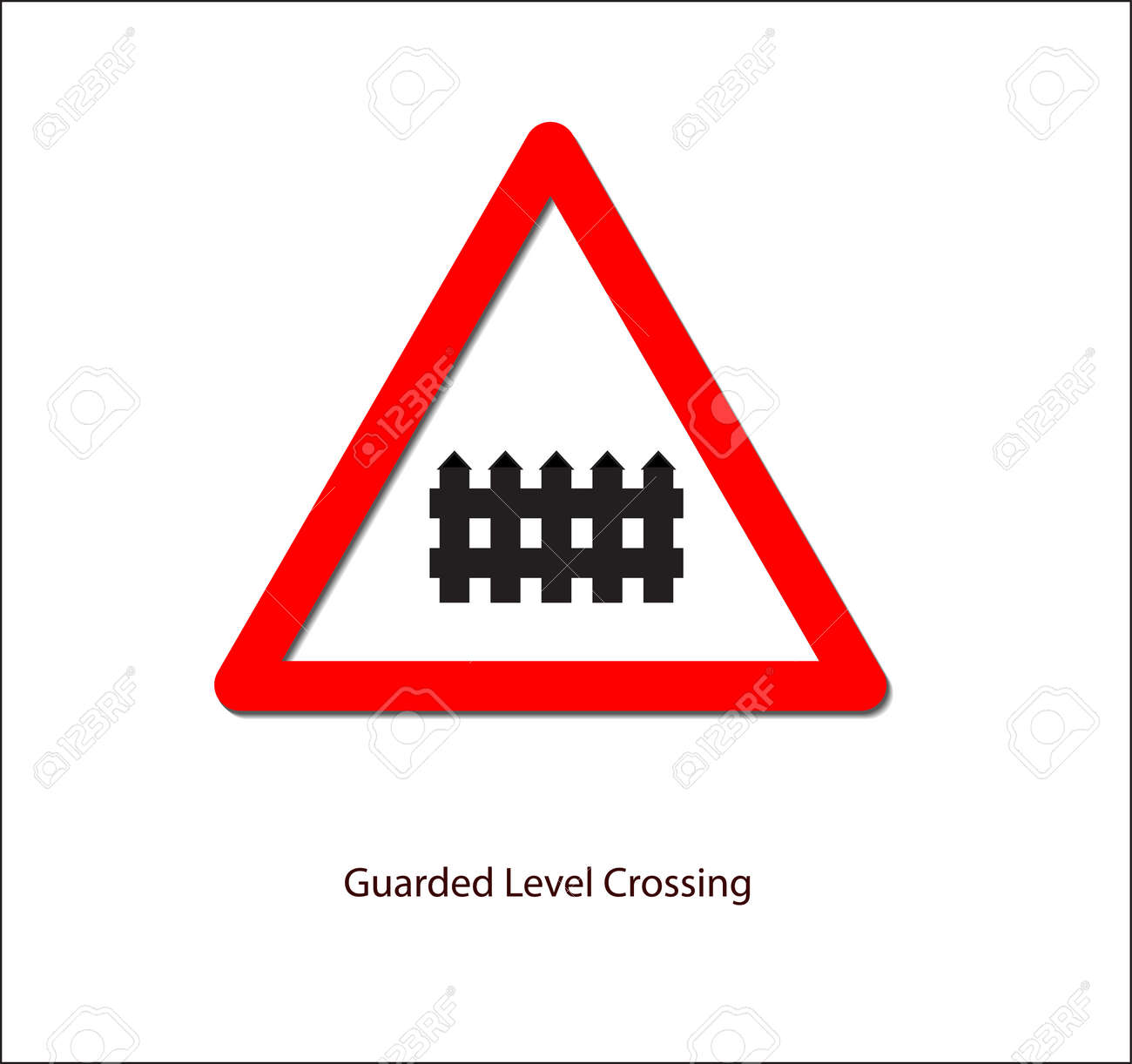 road sign for guarded level crossing royalty free cliparts vectors