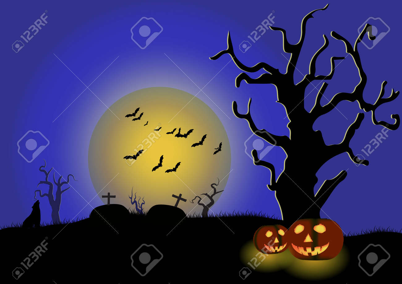 terrible night in the cemetery on halloween stock photo, picture and