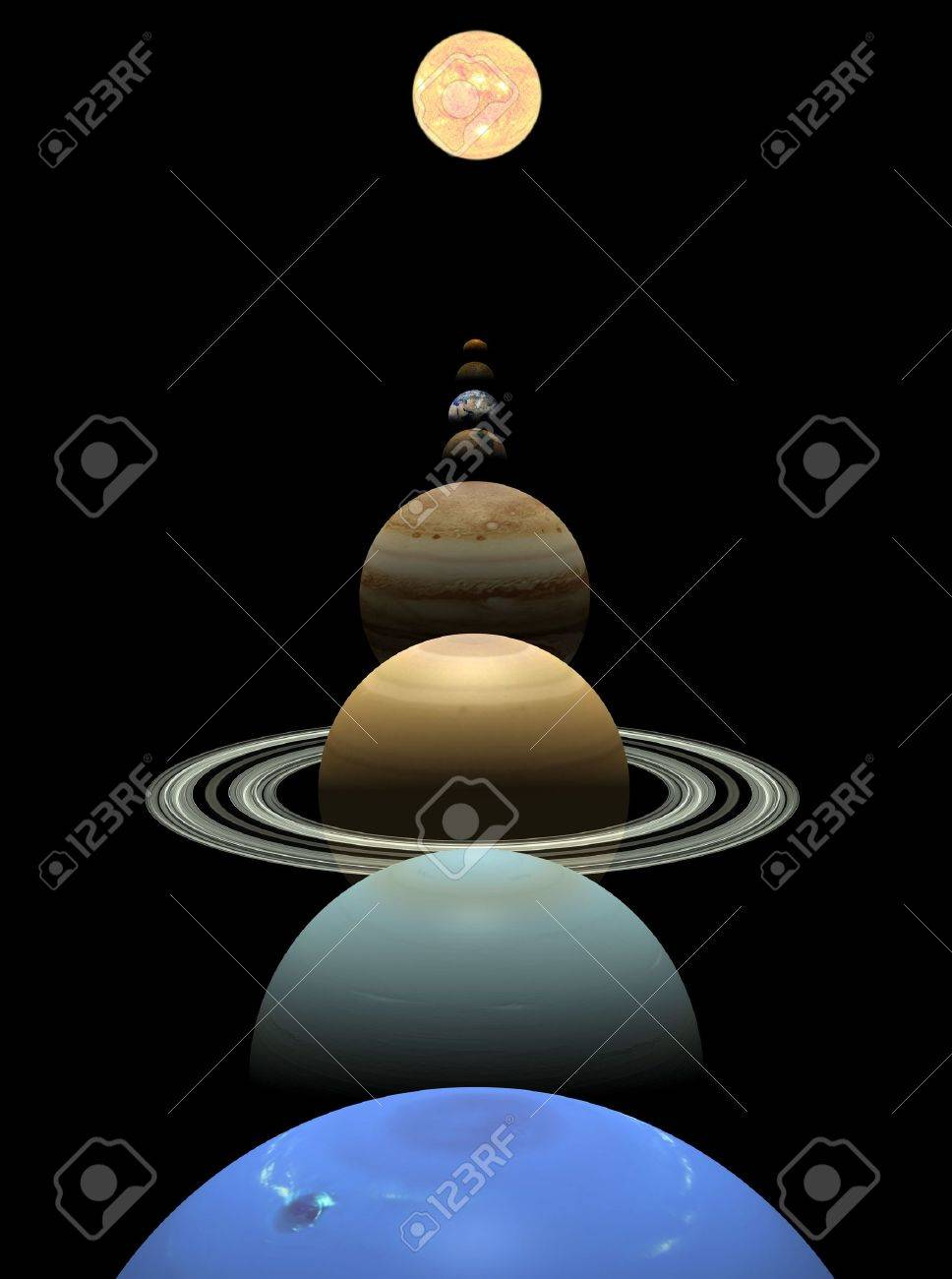 Background image align - All 8 Planets Shown In Alignment On A Black Background Stock Photo 7820496